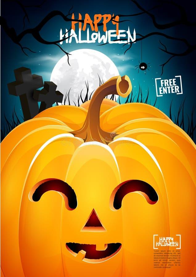 Halloween pumpkin head jack lantern poster royalty free stock image