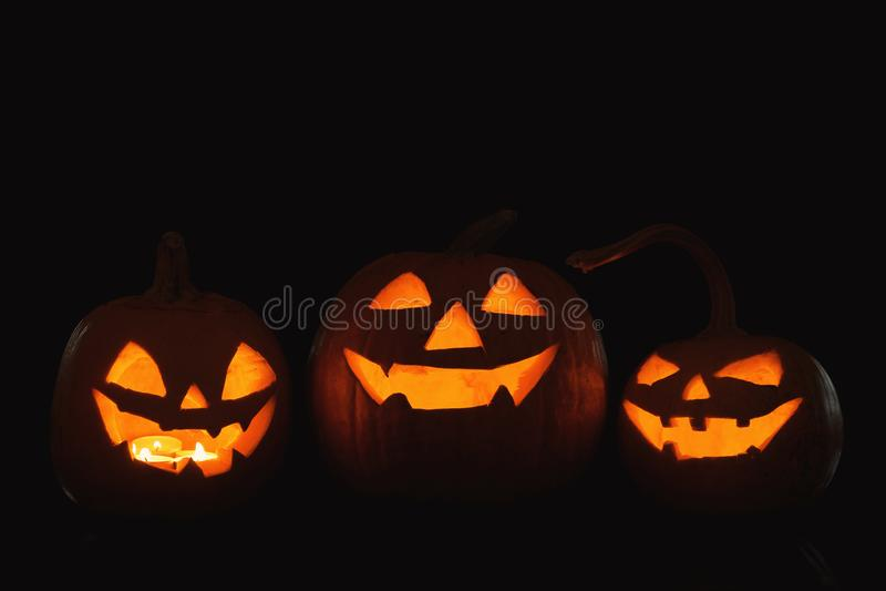 Halloween pumpkin heads stock images