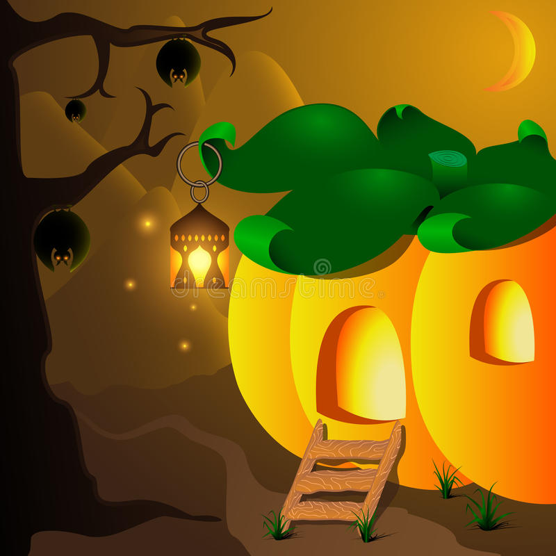Halloween pumpkin house with lamp and bats on the tree royalty free illustration