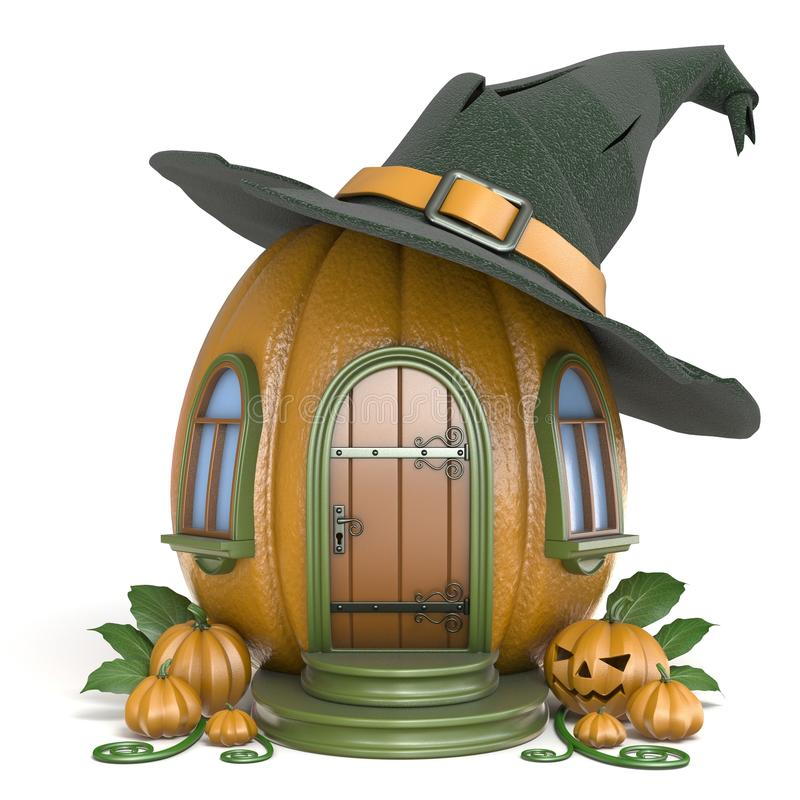 Free Halloween Pumpkin House With Witch Hat 3D Royalty Free Stock Photos - 100367148