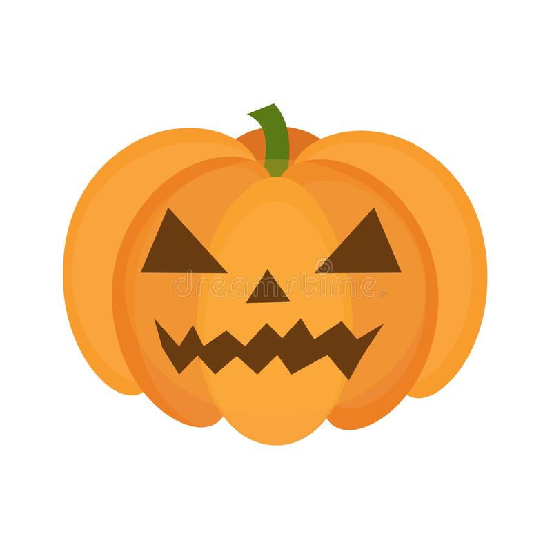 Halloween pumpkin icon flat style. Isolated on white background. Vector illustration. royalty free illustration
