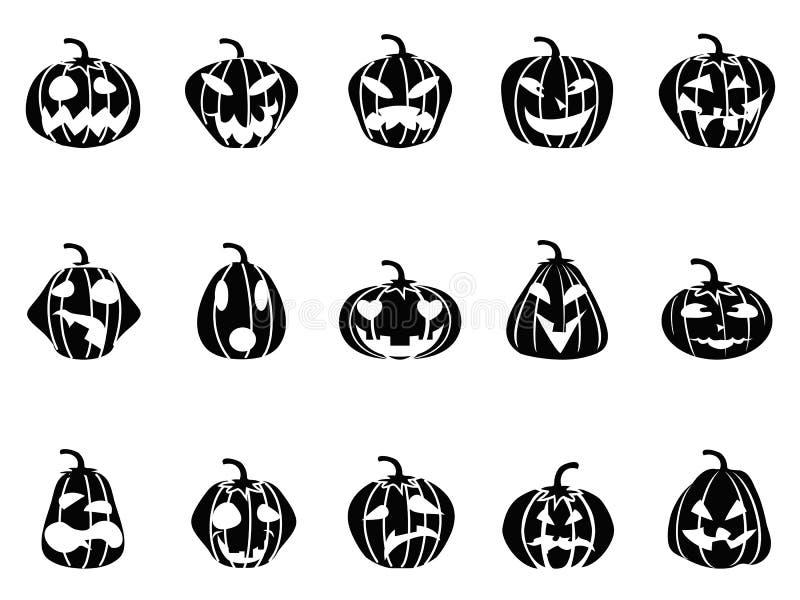 Halloween pumpkin icons set stock illustration