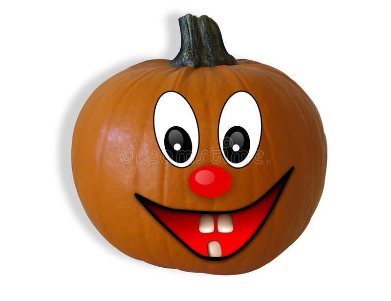 Halloween Pumpkin isolated Happy Face. 3D Image and illustration composition for Halloween, card, invitation or clip-art. real pumpkin with illustrated happy