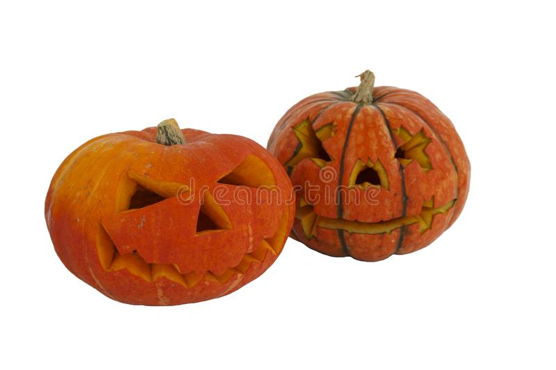 Halloween pumpkin isolated on white background. Jack lantern from juicy pumpkin.  royalty free stock image