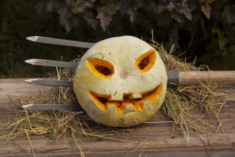 Halloween pumpkin  jack lantern on a pitchfork stock photos