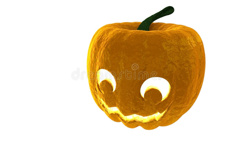 Halloween Pumpkin Jack O Lantern 3d rendering isolated on white background with place for text stock illustration