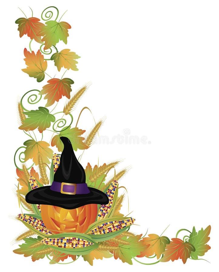 Halloween Pumpkin Jack-O-Lantern and Vines Border stock illustration