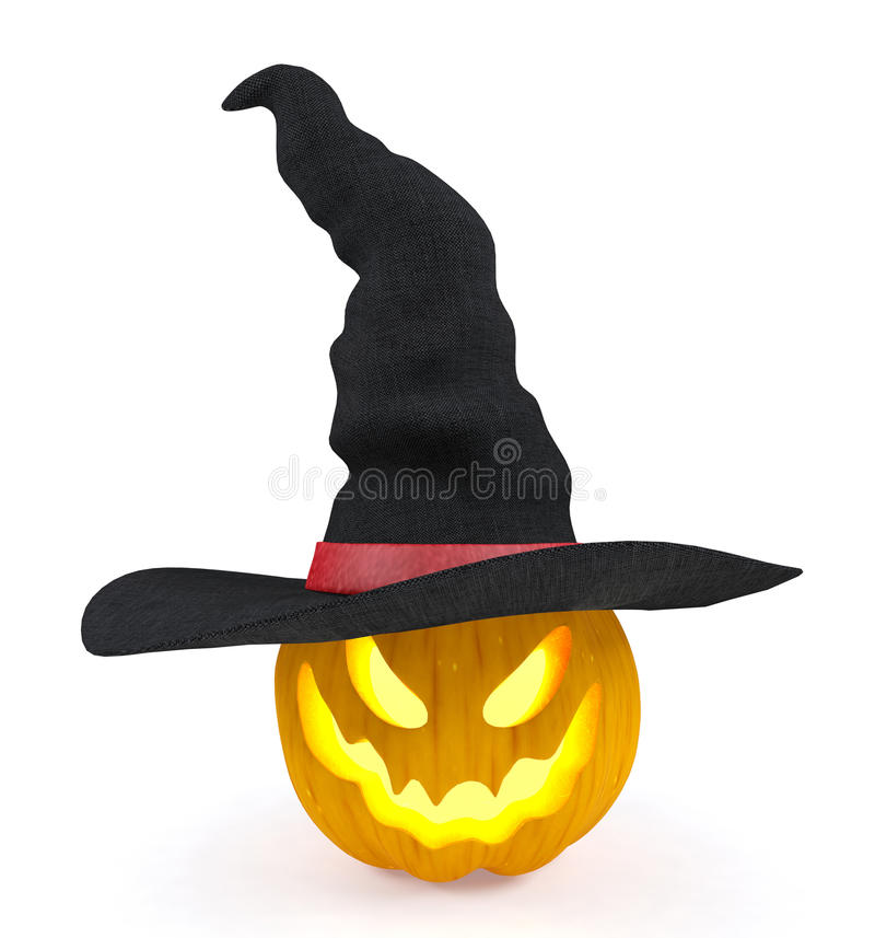Halloween Pumpkin, Jack O`Lantern, Wearing Witch Hat Isolated On ...