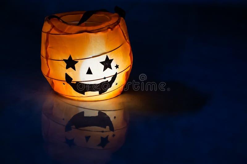 Halloween Pumpkin Lamp, Jack O Lantern On Dark Background stock image