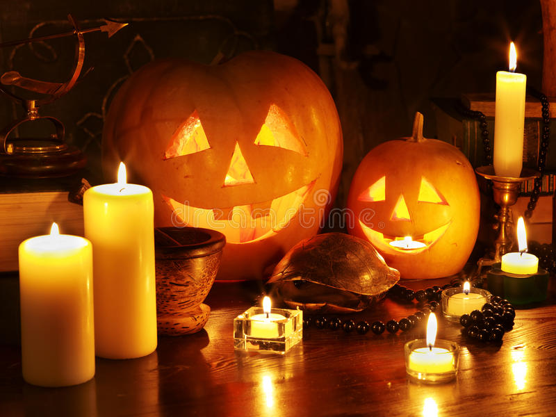 Halloween pumpkin lantern. Holiday decoration royalty free stock photo