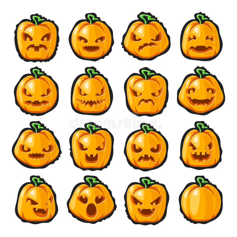 Halloween pumpkin lantern scary faces smile emoji icons set isolated blot background decoration cartoon design vector. Halloween pumpkin lantern scary faces stock illustration