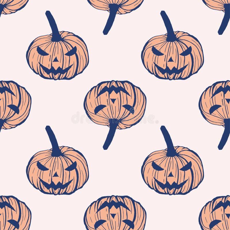 Halloween pumpkin lanterns with creepy faces, hand drawn vector seamless pattern.  vector illustration