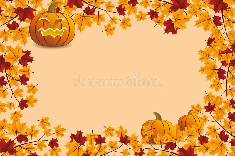 Halloween pumpkin with leafs stock illustration