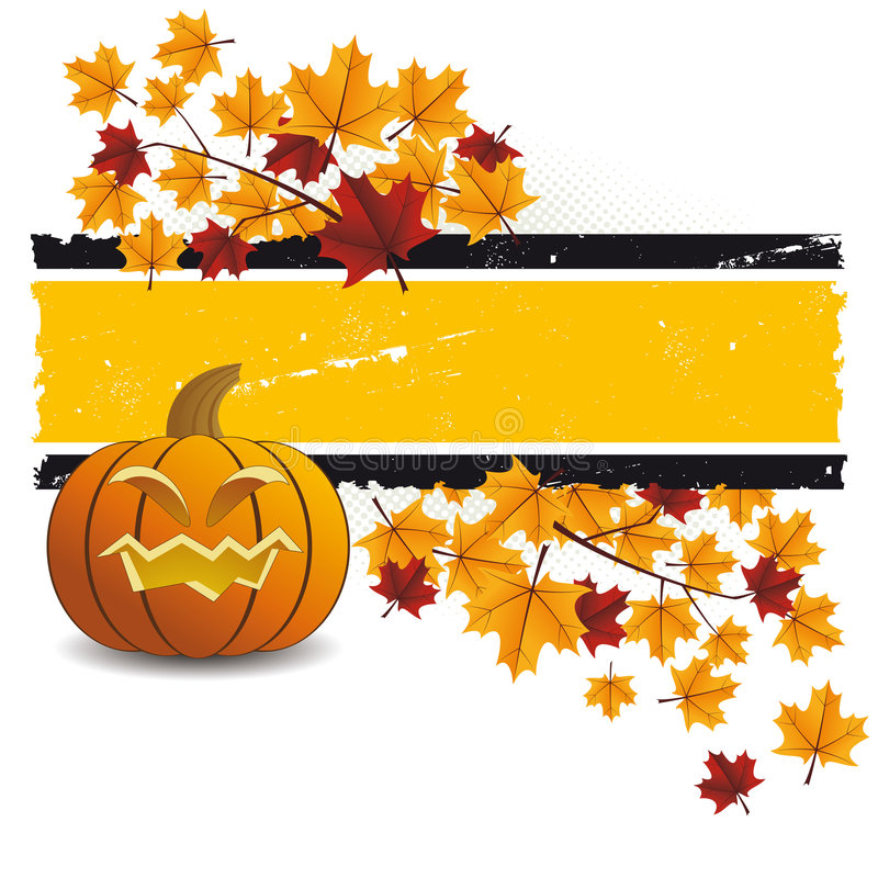 Halloween pumpkin with leafs royalty free illustration