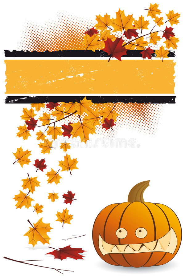 Halloween pumpkin with leafs vector illustration
