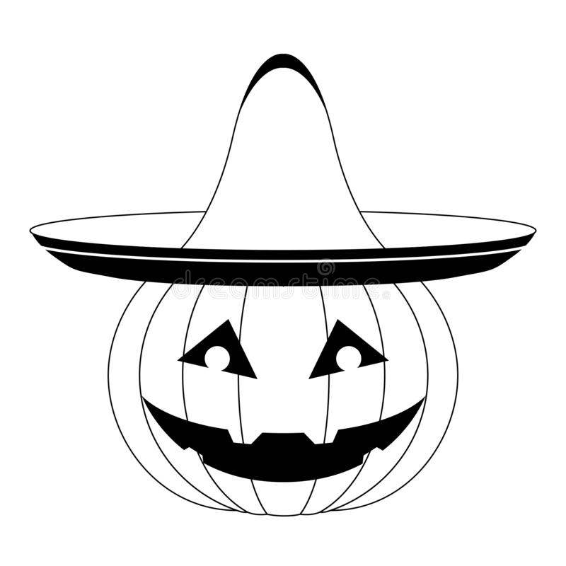 Halloween pumpkin with a mexican hat icon. Vector illustration design royalty free illustration