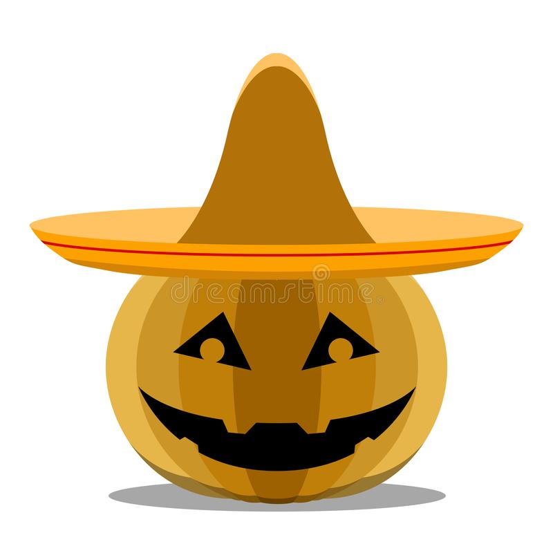 Halloween pumpkin with a mexican hat. Vector illustration design stock illustration