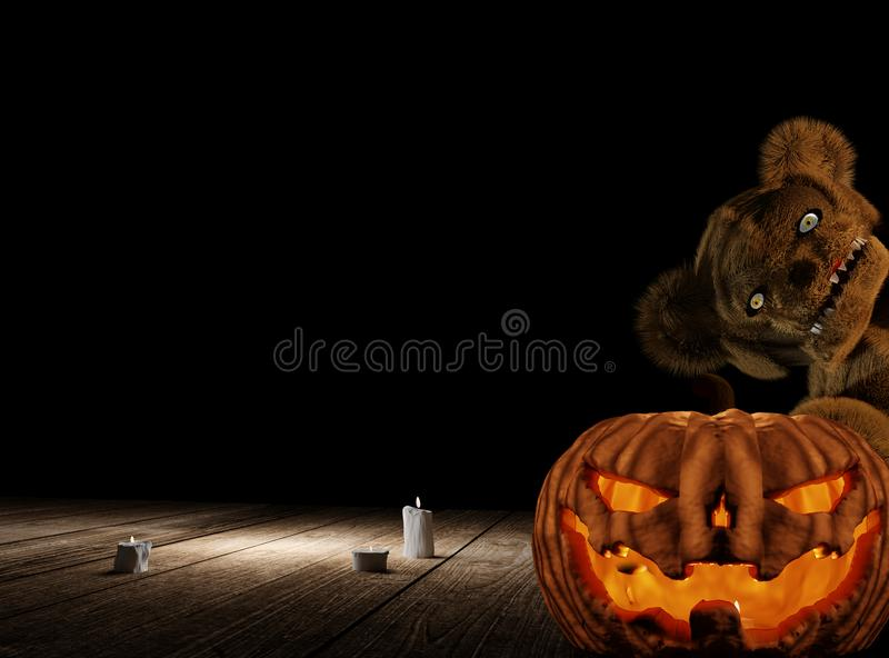 Halloween pumpkin and monster teddy bear with candle lights 3d r stock illustration