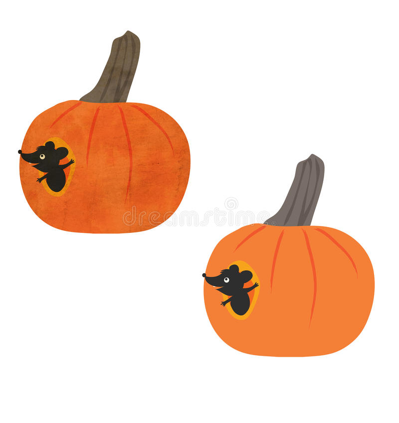 Halloween Pumpkin Mouse Stock Photography