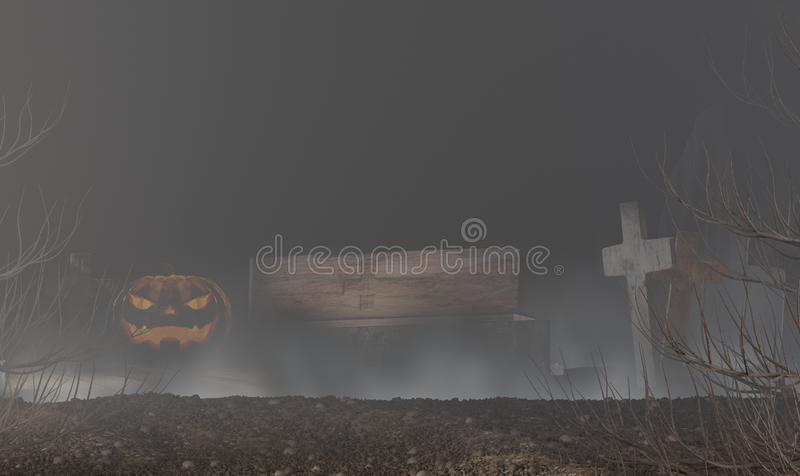 Halloween pumpkin with old coffin and cross made of wood 3d-illustration stock illustration