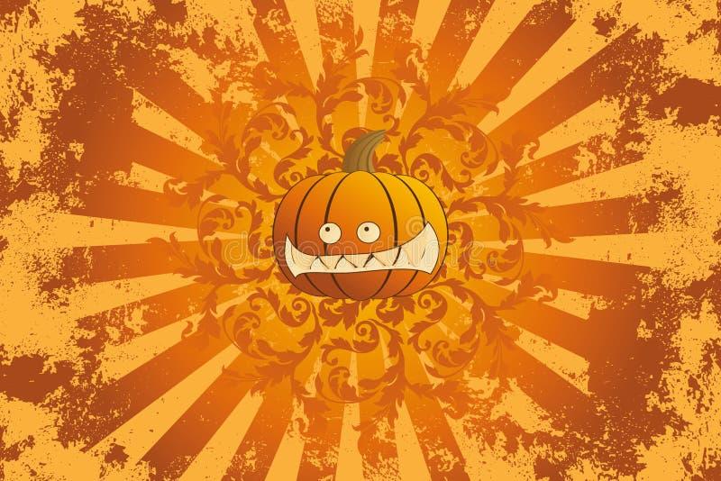 Halloween pumpkin with ornament stock illustration