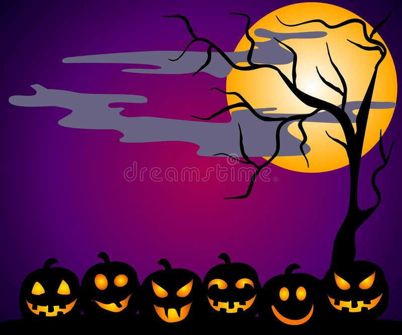 Halloween Pumpkin Patch Faces vector illustration