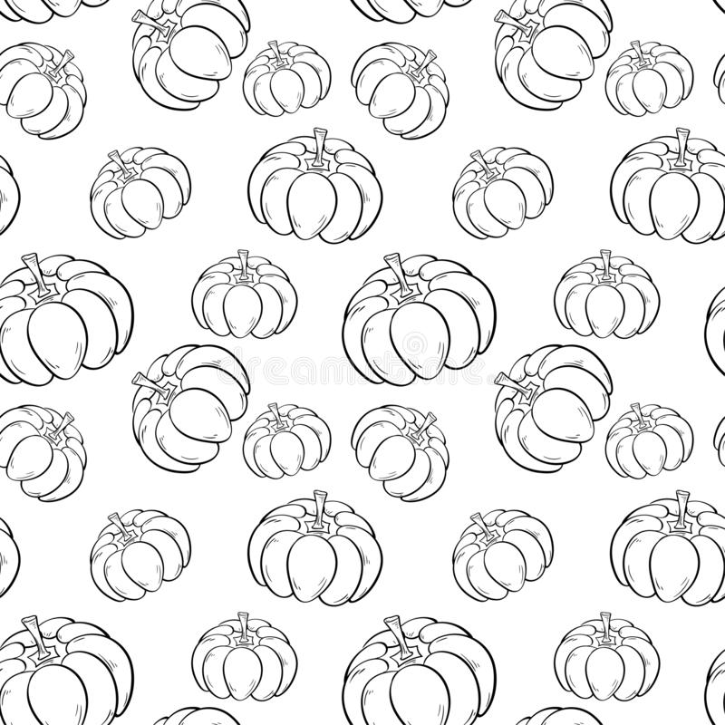 Halloween pumpkin pattern. Black and white seamless background vector illustration