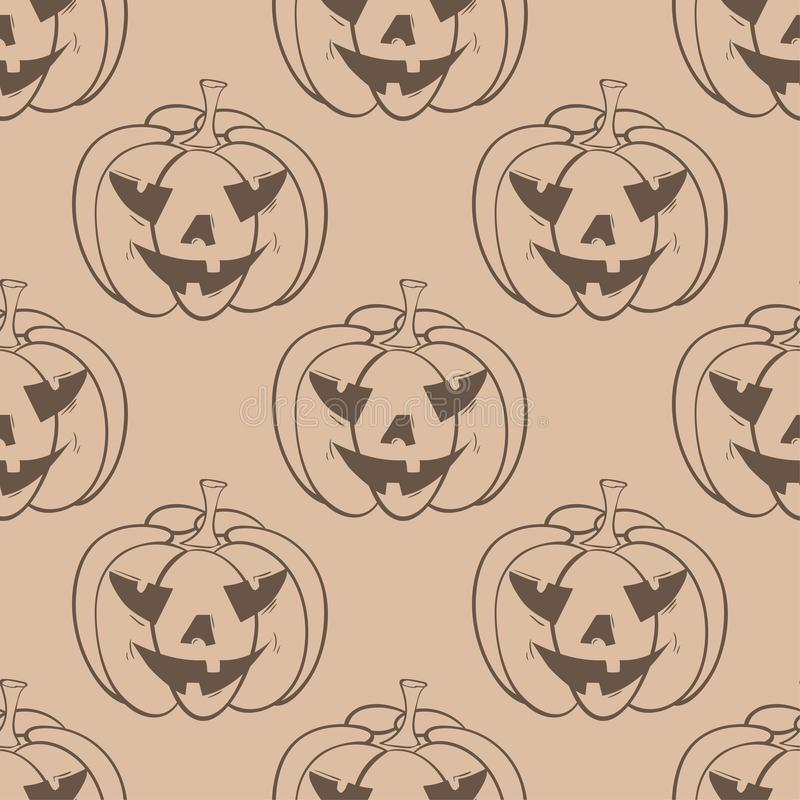 Halloween pumpkin pattern. Brown beige seamless background royalty free illustration