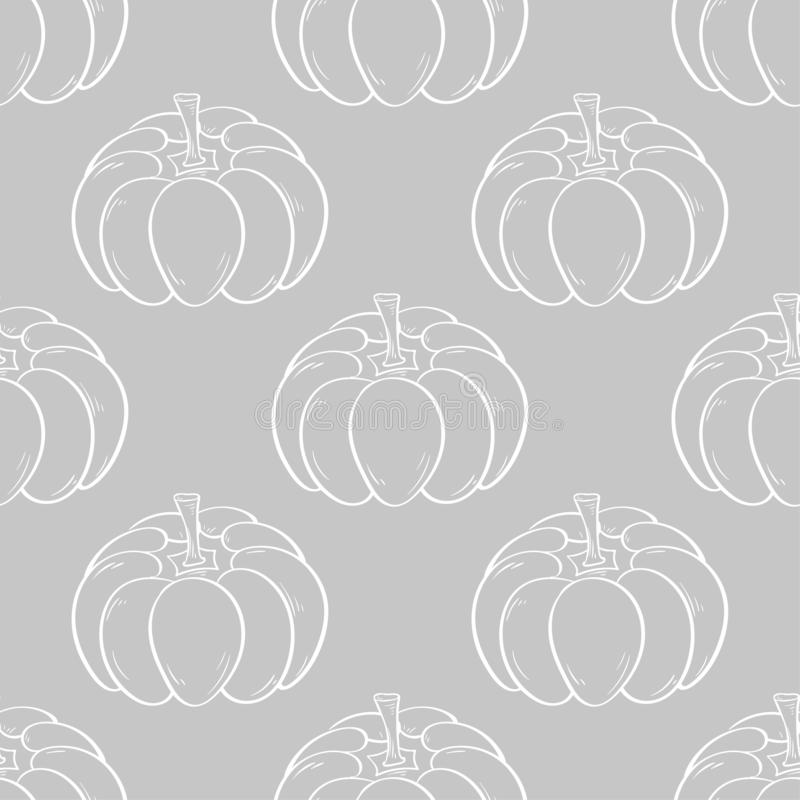 Halloween pumpkin pattern. Gray and white seamless background royalty free illustration