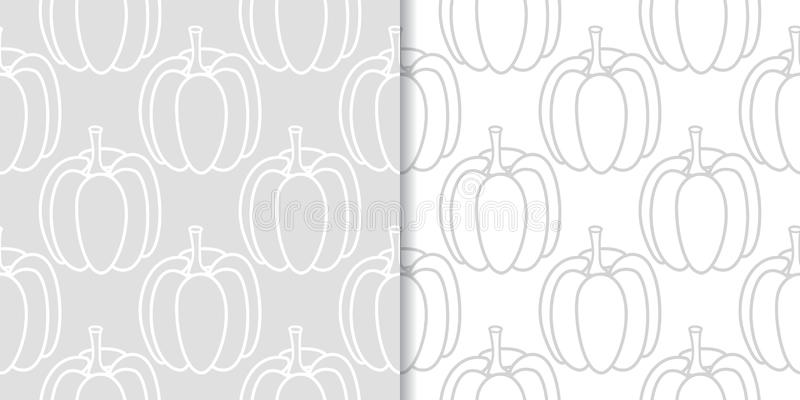 Halloween pumpkin patterns. Gray seamless backgrounds stock illustration