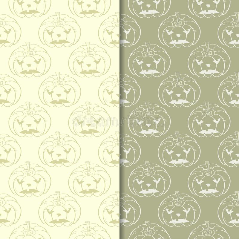 Halloween pumpkin patterns. Olive green seamless backgrounds stock illustration