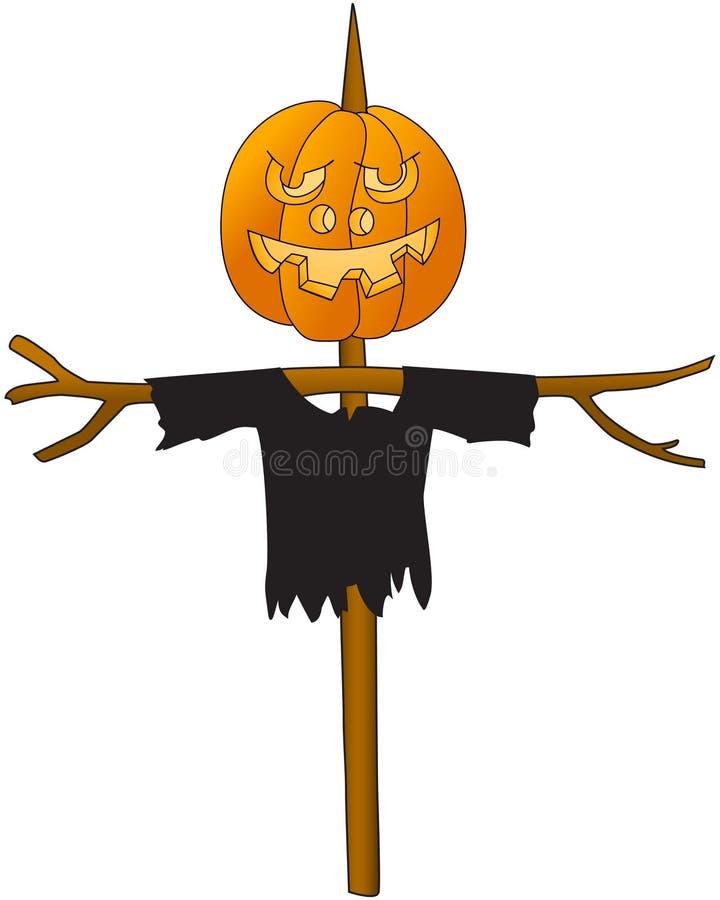 Halloween. Pumpkin on a pole. Scarecrow kitchen garden. Cartoon image. White background. Vector. stock illustration