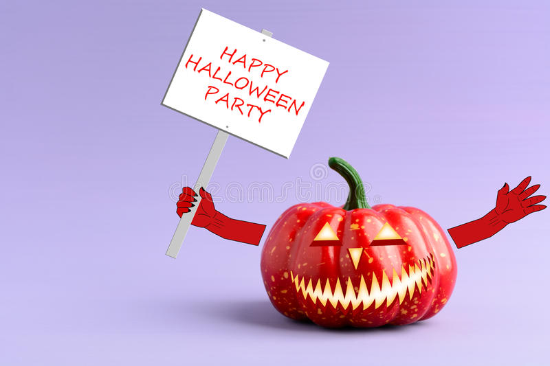 Halloween pumpkin with a poster in his hand. On a purple background stock photography