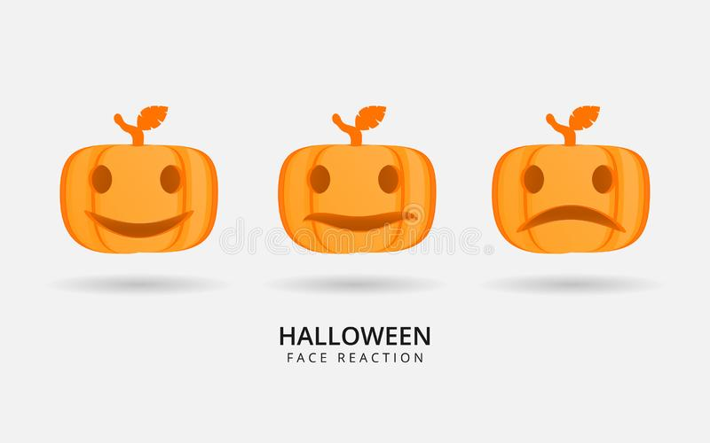 Halloween pumpkin reaction face image can use for sticker or wallpaper vector illustration