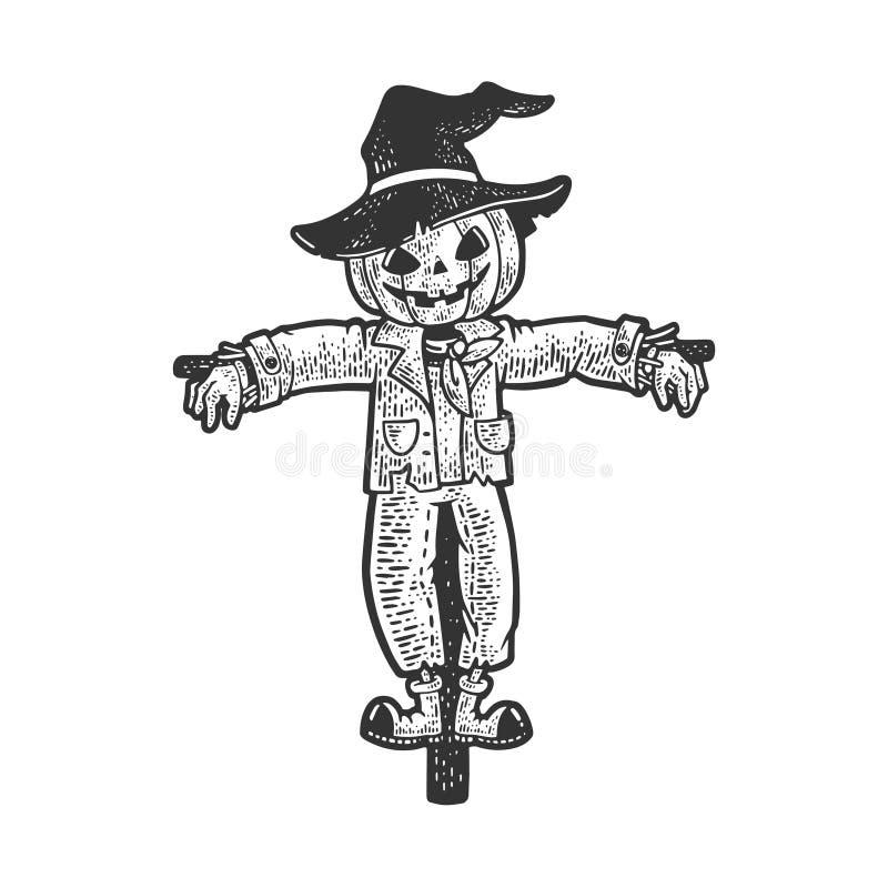Free Halloween Pumpkin Scarecrow Sketch Vector Stock Image - 198218351