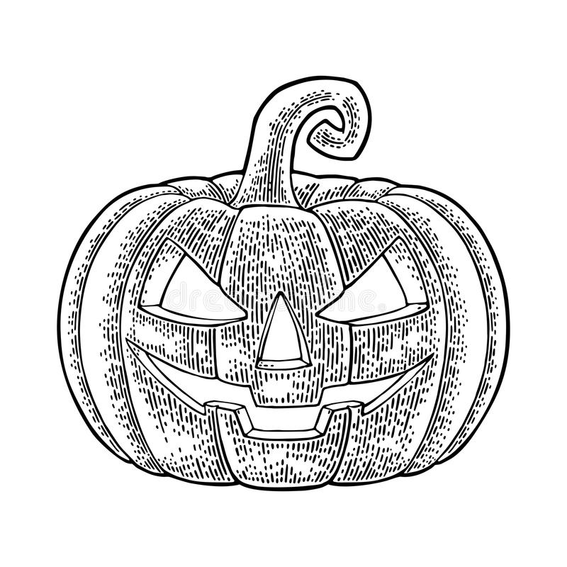 Halloween pumpkin with scary face. Vector vintage engraving illustration. vector illustration