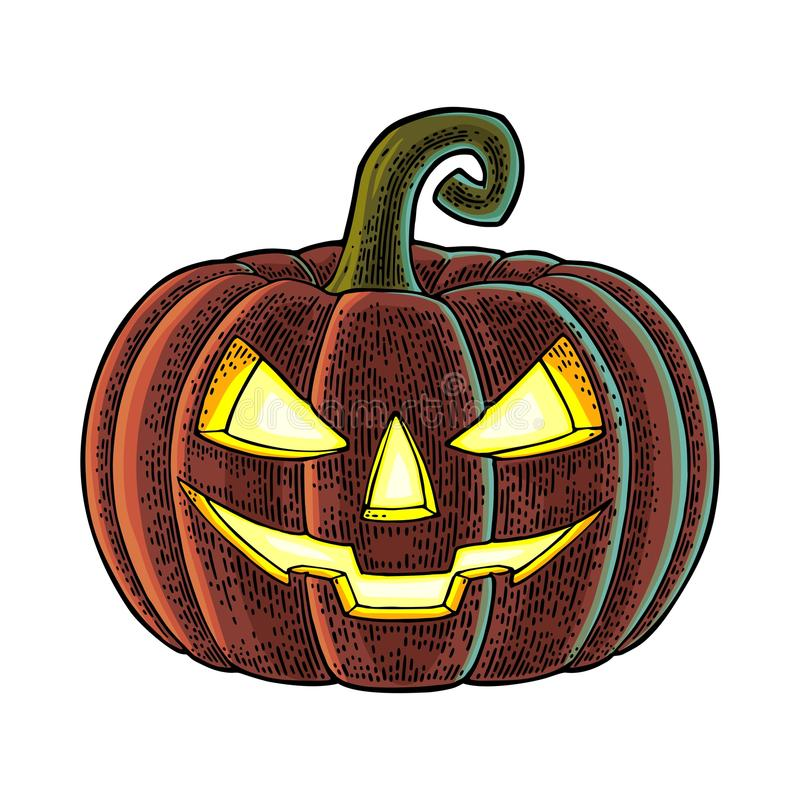 Halloween pumpkin with scary face. Vector vintage engraving illustration. royalty free illustration