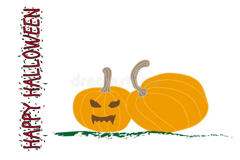 Halloween pumpkin with scary face on white royalty free stock photo