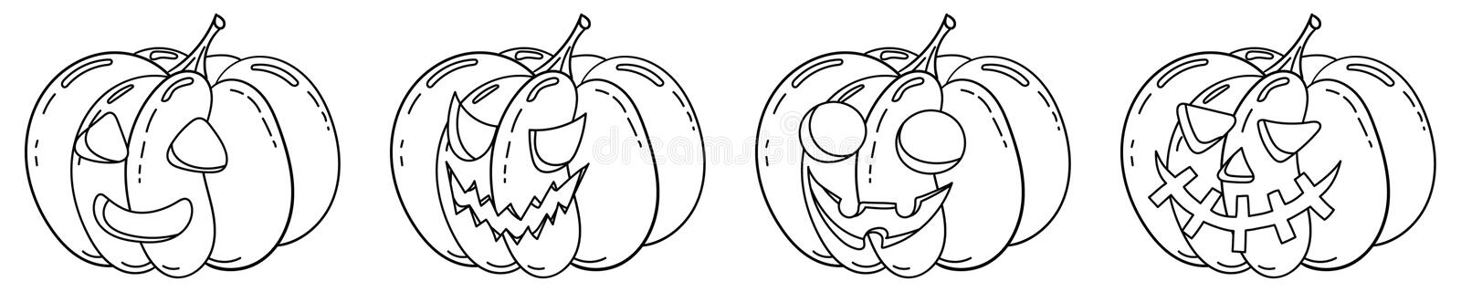 Coloring Page With Halloween Pumpkin Set Stock Vector Illustration Of Drawing Agricultural 161464601