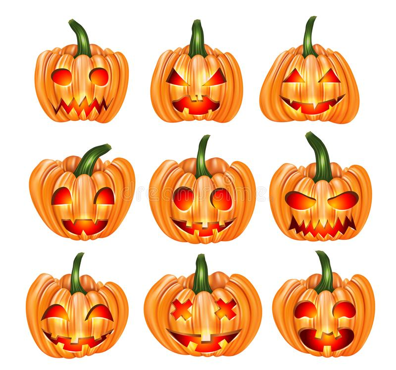 Halloween pumpkin set with cut out faces funny and spooky with glowing eyes. High quality realistic vector clipart icons. Trick or royalty free illustration