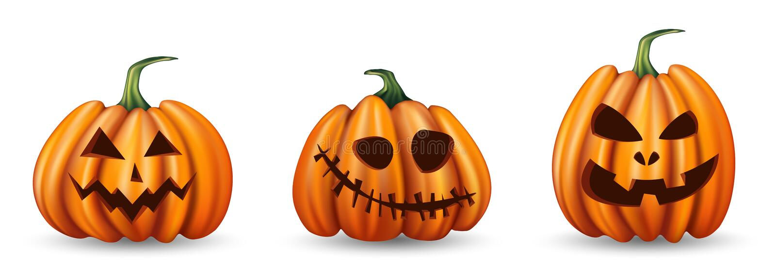 Set of halloween pumpkins with funny faces on white background royalty free illustration