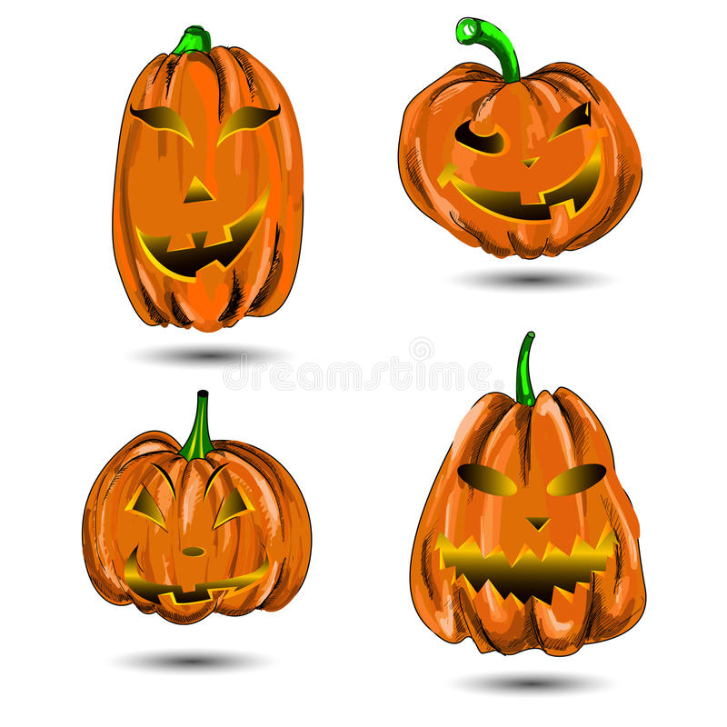 Download Halloween Pumpkin Set  On White. Scary Jac Stock Vector - Image: 33027777