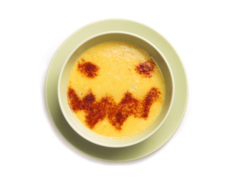 Halloween pumpkin soup stock photo