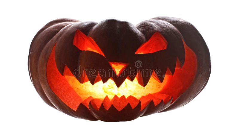 Halloween pumpkin on white. Halloween pumpkin isolated on white royalty free stock images