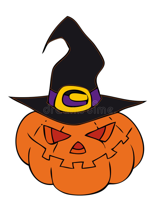 Download Halloween Pumpkin With Witch Hat. Stock Vector - Image: 16002338