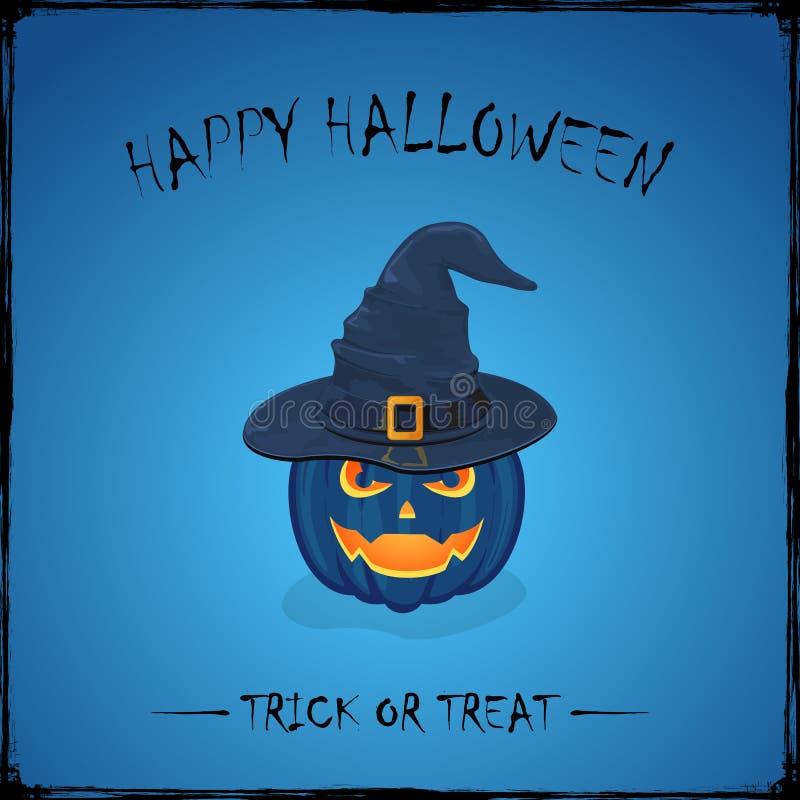 Halloween pumpkin in witch hat on blue background vector illustration