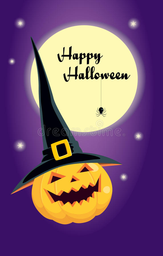 Halloween pumpkin in a witch hat stock illustration