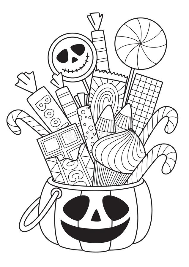 Free Halloween Pumpkin With Candies Doodle Coloring Book Page. Antistress For Adults. Outline Black And White Illustration Stock Photography - 196356482