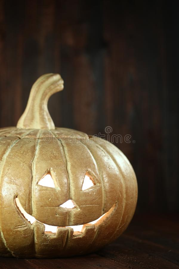 Download Halloween Pumpkin On Wood Grunge Rustic Background Stock Photo
