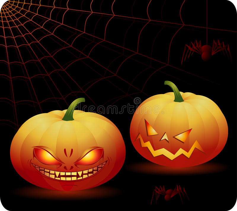 Download Halloween pumpkins stock vector. Image of objects, night - 10732900